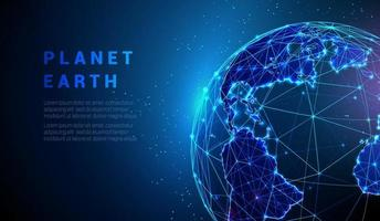 Abstract vector low poly earth globe concept.