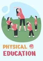 Physical education poster flat vector template