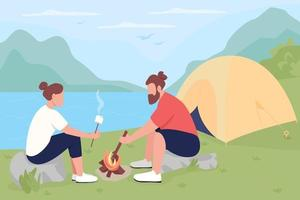 Camping in countryside flat color vector illustration