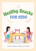 Healthy snacks for kids poster flat vector template