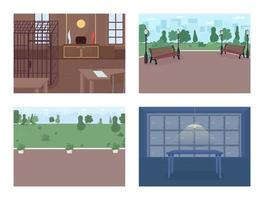 Police department facilities flat color vector illustration set