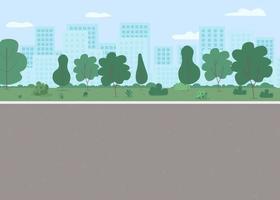 Ilustración de vector de color plano de parque público vacío