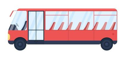 Red empty bus flat color vector object