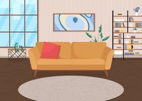 Trendy living room flat color vector illustration