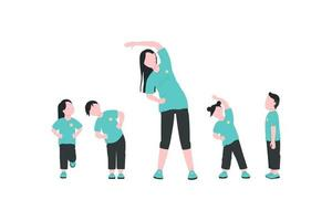 Teacher with children exercising flat color vector faceless characters