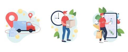 Package delivery flat concept vector illustration set