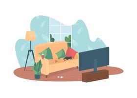 Messy living room 2D vector web banner