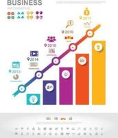 Timeline infographics business success concept with graph. vector