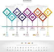 Infographic template. Timeline infographic Business success concept with graph. vector design. Elements of this image furnished by NASA no3