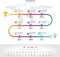 Infographic template. Timeline infographic Business success concept with graph. vector design. Elements of this image furnished by NASA no7