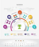 Infographic template. Timeline infographic Business success concept with graph. vector design. Elements of this image furnished by NASA no8