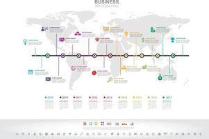 Infographic template. Timeline infographic Business success concept with graph. vector design. Elements of this image furnished by NASA no10