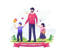 Dad celebrates father's day by taking his kids for a walk vector illustration