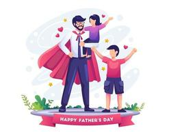 Dad is like a superhero to his kids on father's day vector illustration
