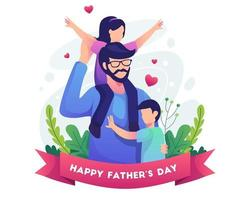 Happy father's day with Father with his two children vector illustration