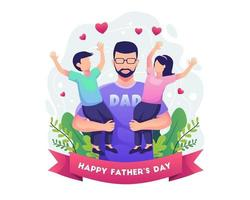 Happy father's day with Father holding his two children vector illustration