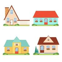 Set family houses in flat style, cartoon, isolated. Cute cozy home vector