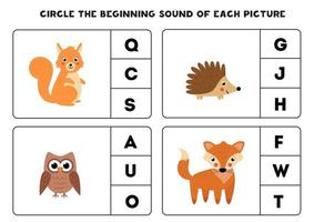 Worksheet for kids. Find the beginning sound. Cute woodland animals. vector