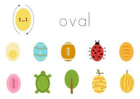 Learning basic geometric form for children. Cute oval. vector