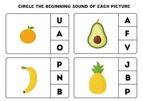 Worksheet for kids. Find the beginning sound. Cute kawaii fruits. vector