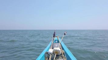Indian Fishermen Boat Crossing Maritime Border 4K. Maritime boundary video