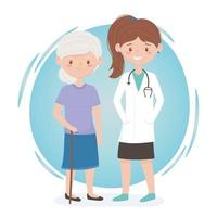 female physician and old woman medical staff professional practitioner cartoon character vector