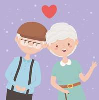 old people, happy grandparents, mature couple love cartoon characters vector