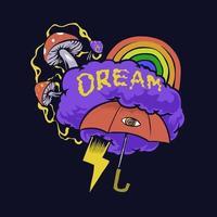 Psychedelic dream imagination illustration vector
