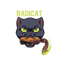 Radicat cat bite molotov illustration vector