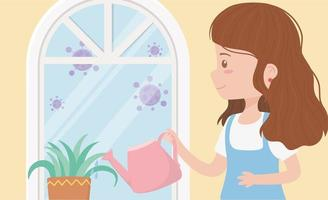 stay at home quarantine, woman with watering can potted plant window vector