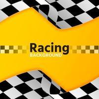 bandera de carreras de coches fondo amarillo vector