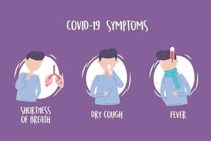 covid 19 pandemic infographic, symptoms fever dry cough and shortness of breath vector