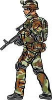 soldier in camouflage, with a gun vector
