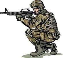 soldier in camouflage with a gun vector