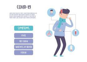infografía pandémica covid 19, síntomas de la enfermedad por coronavirus, fiebre, tos, fatiga vector