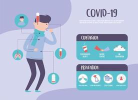 covid 19 pandemic infographic, coronavirus outbreak, prevent and contagion items vector