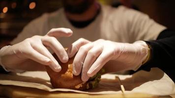 Man Preparing to Eat a Burger video