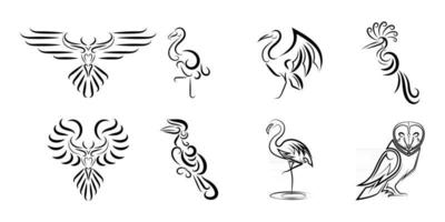 Set of line art vector images of various beautiful birds Good use for symbol mascot icon avatar and logo