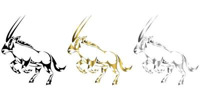 three color black gold silver Vector illustration of a gemsbok raising two front legs to prepare to run It looks strong and powerful Suitable for use in logos or decorations