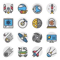 Pack of Atom Flat Icons vector