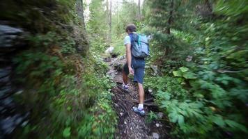 um homem caminhando e mochilando em uma trilha nas montanhas. video