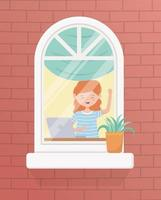 stay at home quarantine, woman with laptop in room window plant in pot vector