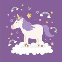 unicorn purple hair on cloud rainbows decoration magical fantasy cartoon cute animal vector