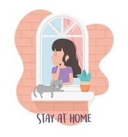 stay at home quarantine, happy woman in window with cat and plant in pot vector