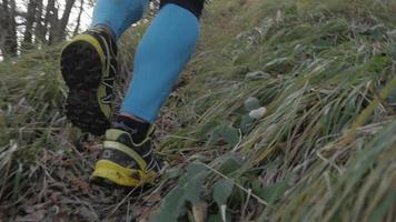 Foto de detalle de los zapatos y las piernas de un corredor de pista. video