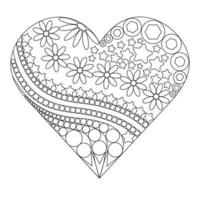 Heart filled with flowers and patterns vector