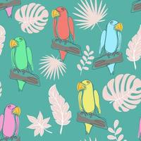 Seamless pattern with parrots line art vector