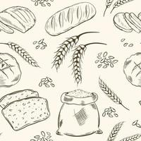 Seamless pattern with grains bread and ears of wheat vector