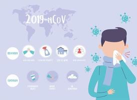 covid 19 pandemic infographic, world, people prevention and contagion, coronavirus disease vector