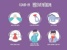 covid 19 pandemic infographic, prevention recommendations avoid contagion of the disease vector